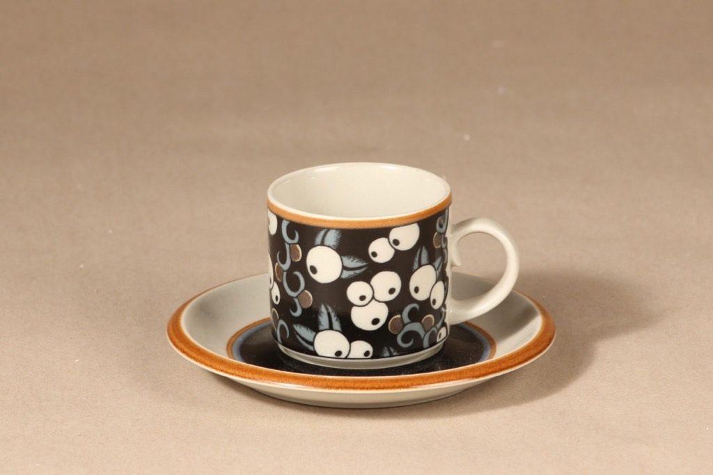 Arabia Taika kahvikuppi, puhalluskoriste, suunnittelija Inkeri Leivo, puhalluskoriste, puhalluskoriste, retro