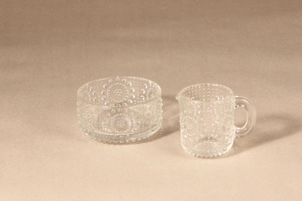 Riihimäen lasi Grapponia sokerikko ja kermakko, kirkas, 2 kpl, suunnittelija Nanny Still,