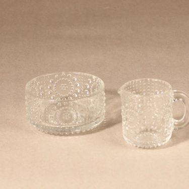 Riihimäen lasi Grapponia sugar bowl and creamer, clear, 2 pcs, Nanny Still