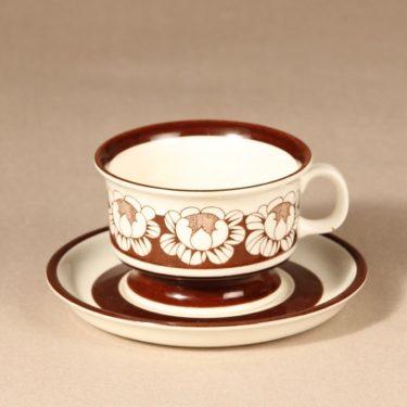 Arabia Katrilli teekuppi, ruskea, suunnittelija Esteri Tomula, serikuva