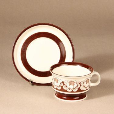 Arabia Katrilli teekuppi, ruskea, suunnittelija Esteri Tomula, serikuva kuva 2