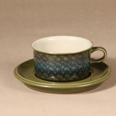 Arabia S teekuppi, käsinmaalattu, suunnittelija Hilkka-Liisa Ahola, käsinmaalattu, käsinmaalattu, signeerattu