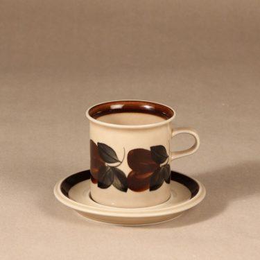 Arabia Ruija kahvikuppi, ruskea, suunnittelija Raija Uosikkinen, käsinmaalattu