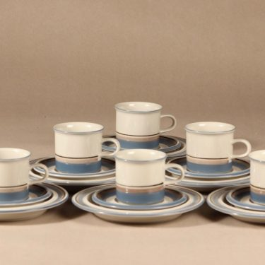 Arabia Uhtua coffee cup, saucer and demitasse 6 pcs designer Inkeri Leivo