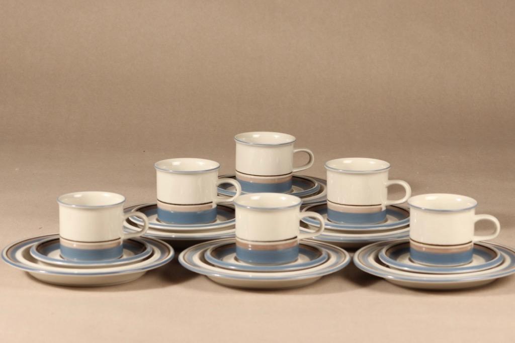 Arabia Uhtua coffee cup, saucer and demitasse 6 pcs designer Inkeri Leivo