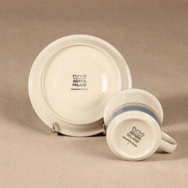 Arabia Uhtua kahvikuppi ja lautaset, 3 osaa, 6 kpl, suunnittelija Inkeri Leivo, 3 osaa, raitakoriste kuva 4