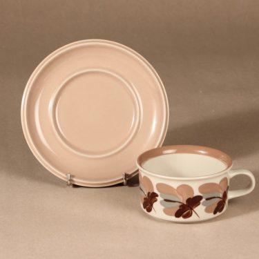 Arabia Koralli teekuppi, käsinmaalattu, suunnittelija Raija Uosikkinen, käsinmaalattu, käsinmaalattu, kukka-aihe kuva 2