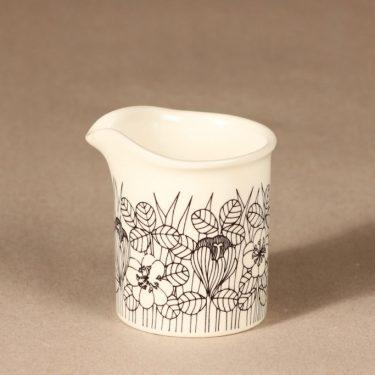Arabia Krokus kermakko, mustavalkoinen, suunnittelija Esteri Tomula, serikuva, kukka-aihe