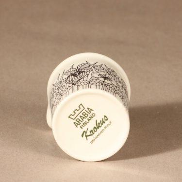 Arabia Krokus kermakko, mustavalkoinen, suunnittelija Esteri Tomula, serikuva, kukka-aihe kuva 2