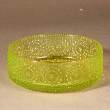 Riihimäen lasi Grapponia bowl, yellow designer Nanny Still