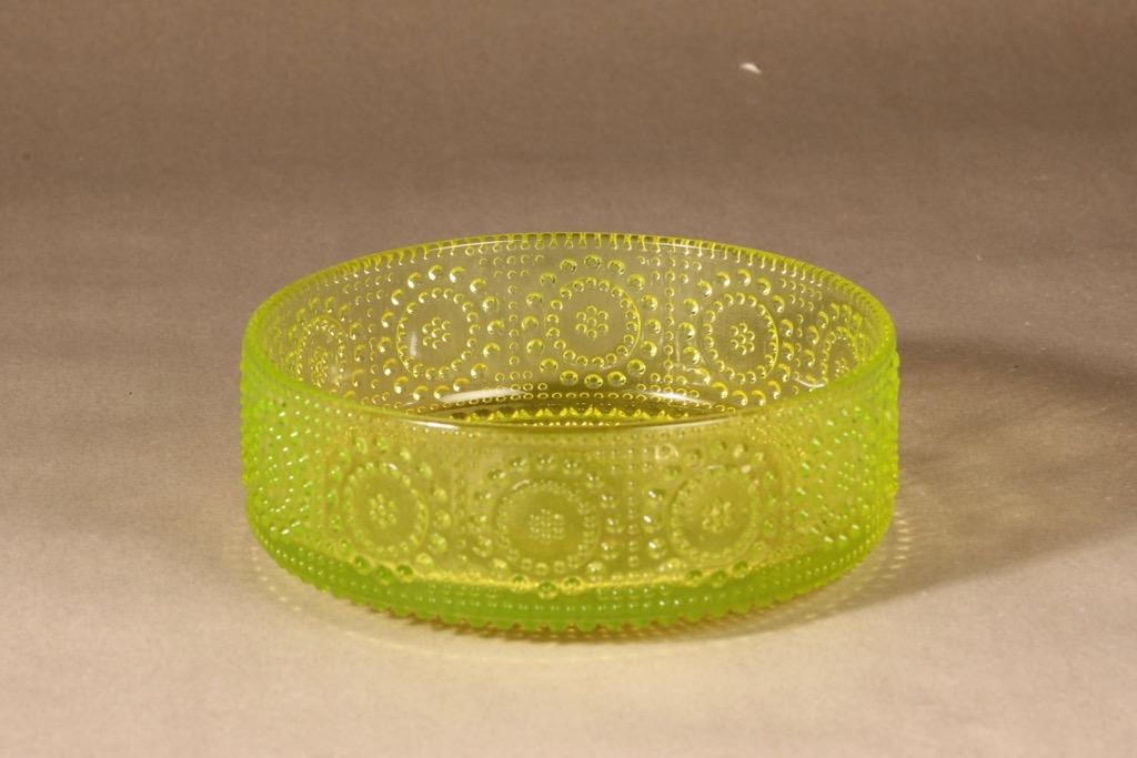 Riihimäen lasi Grapponia kulho, keltainen, suunnittelija Nanny Still,