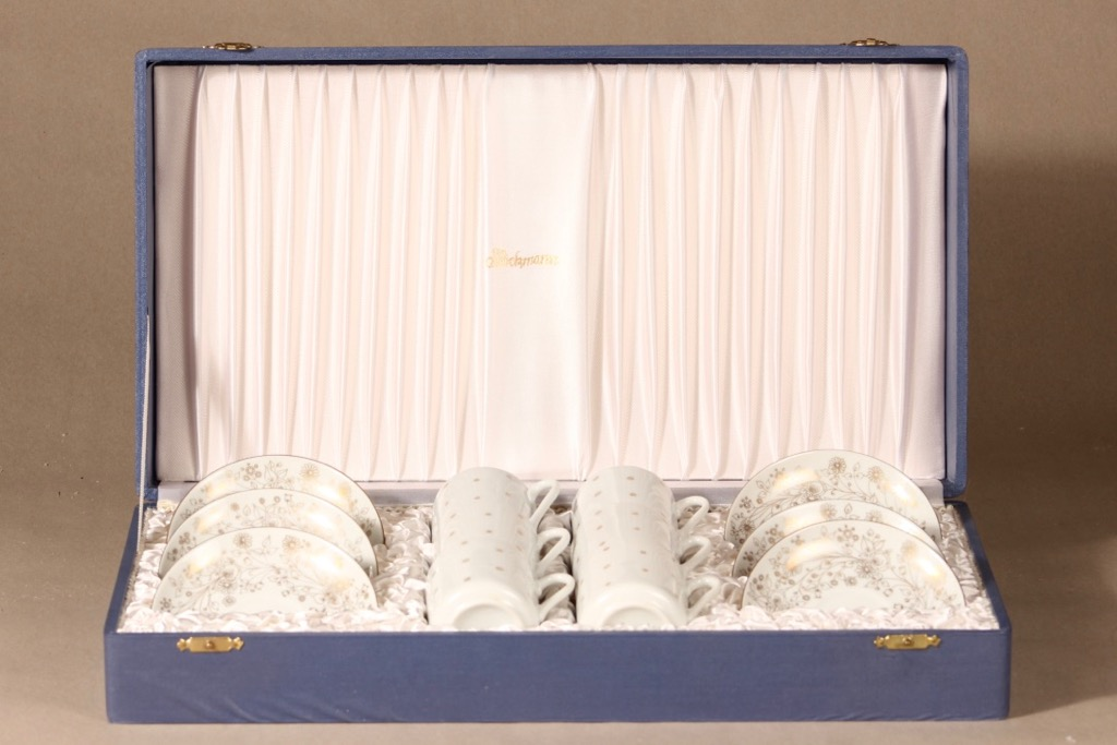 Arabia OC mokkakuppi, käsinmaalattu, 6 kpl, suunnittelija Esteri Tomula, käsinmaalattu, käsinmaalattu, signeerattu