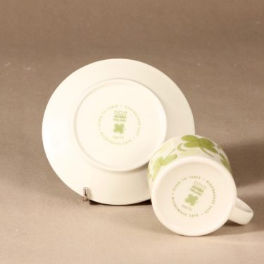 Arabia Apila kahvikuppi ja lautaset, vihreä, suunnittelija Birger Kaipiainen, serikuva kuva 4