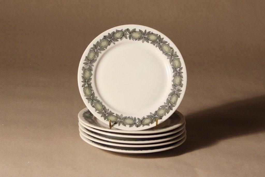 Arabia Citrus lautanen, pieni, 6 kpl, suunnittelija Richard Lindh, pieni, serikuva