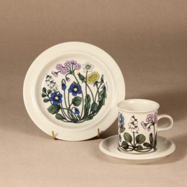 Arabia Flora kahvikuppi ja lautaset, suunnittelija Esteri Tomula, serikuva, kukka-aihe
