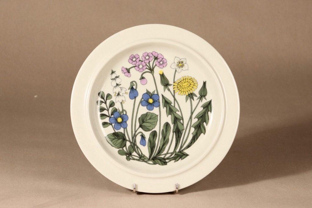 Arabia Flora lautanen, matala, suunnittelija Esteri Tomula, matala, serikuva, kukka-aihe