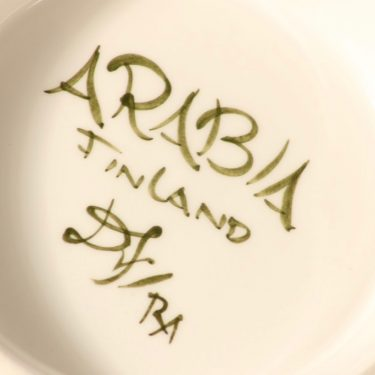Arabia Palermo liemimalja, 1.08 l, suunnittelija Dorrit von Fieandt, 1.08 l, käsinmaalattu, signeerattu kuva 3