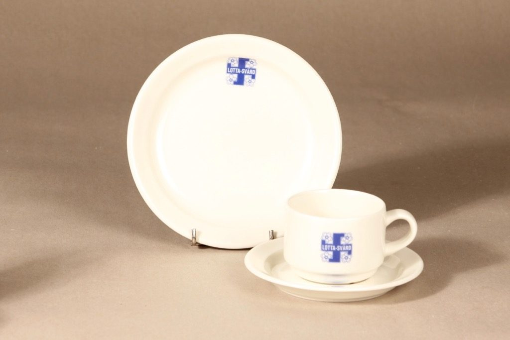 Arabia Lotta Svärd coffee cup and saucer, white, blue, decorative printing