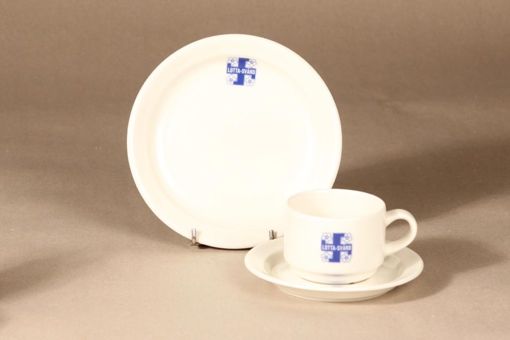 Arabia Lotta Svärd kahvikuppi ja lautaset, valkoinen, sininen, suunnittelija , painokoriste