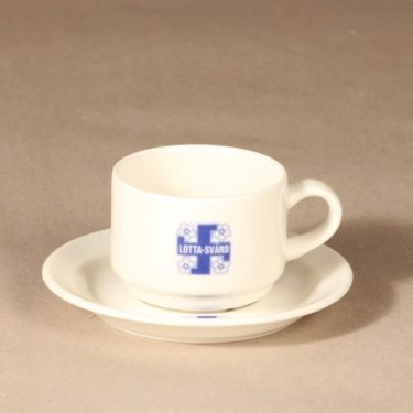 Arabia Lotta Svärd coffee cup and saucer, white, blue, decorative printing, 2