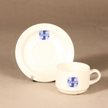 Arabia Lotta Svärd coffee cup and saucer, white, blue, decorative printing, 3