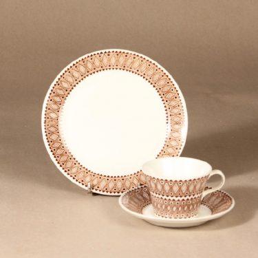 Arabia Lobelia kahvikuppi ja lautaset, ruskea, suunnittelija , ornamentti