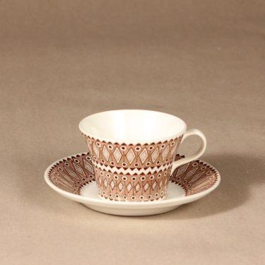 Arabia Lobelia kahvikuppi ja lautaset, ruskea, suunnittelija , ornamentti kuva 2