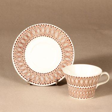 Arabia Lobelia kahvikuppi ja lautaset, ruskea, suunnittelija , ornamentti kuva 3