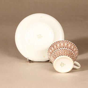 Arabia Lobelia kahvikuppi ja lautaset, ruskea, suunnittelija , ornamentti kuva 4