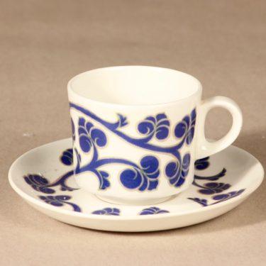Arabia Lyydia kahvikuppi ja lautanen, sininen, suunnittelija Laila Hakala, serikuva, retro kuva 2