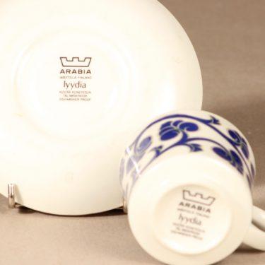 Arabia Lyydia kahvikuppi ja lautanen, sininen, suunnittelija Laila Hakala, serikuva, retro kuva 4