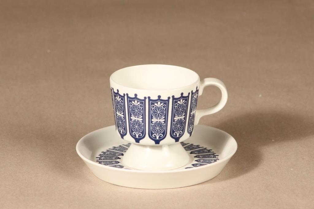 Arabia Rukinlapa kahvikuppi, sininen, suunnittelija Raija Uosikkinen, serikuva, abstrakti