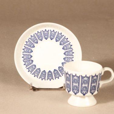 Arabia Rukinlapa kahvikuppi, sininen, suunnittelija Raija Uosikkinen, serikuva, abstrakti kuva 2