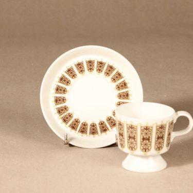 Arabia Rukinlapa kahvikuppi, ruskea, suunnittelija Raija Uosikkinen, serikuva, abstrakti