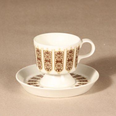 Arabia Rukinlapa kahvikuppi, ruskea, suunnittelija Raija Uosikkinen, serikuva, abstrakti kuva 2