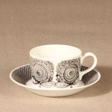 Arabia Calypso kahvikuppi, musta, suunnittelija Esteri Tomula, serikuva, abstrakti, kukka