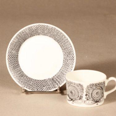 Arabia Calypso kahvikuppi, musta, suunnittelija Esteri Tomula, serikuva, abstrakti, kukka kuva 2