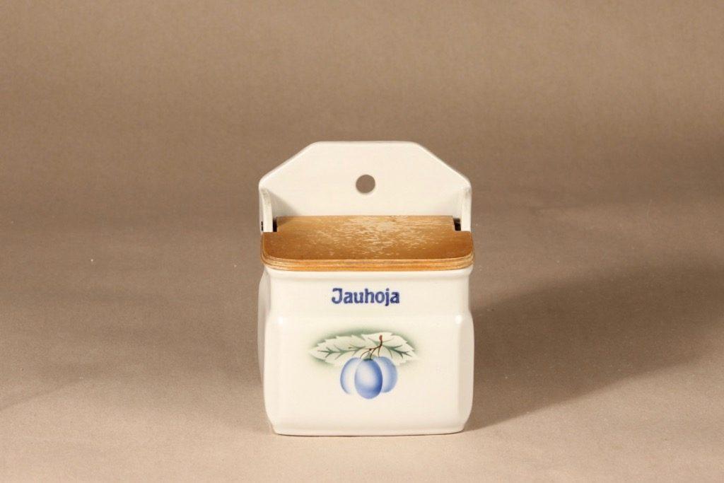 Arabia Luumu jauhosalkkari, suunnittelija Thure Öberg, puhalluskoriste