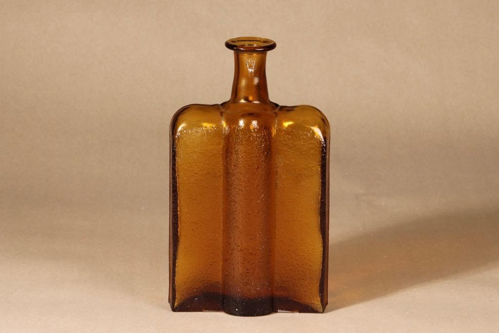 Riihimäen lasi Railo bottle, brown designer Nanny Still