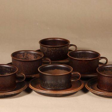 Arabia Ruska teekuppi, ruskea, 6 kpl, suunnittelija Ulla Procope,