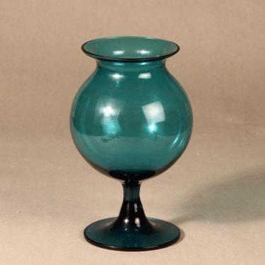 Riihimäen lasi Ruusu maljakko, jalallinen, suunnittelija Nanny Still, jalallinen, Naarmuja maljakon sisäpinnassa