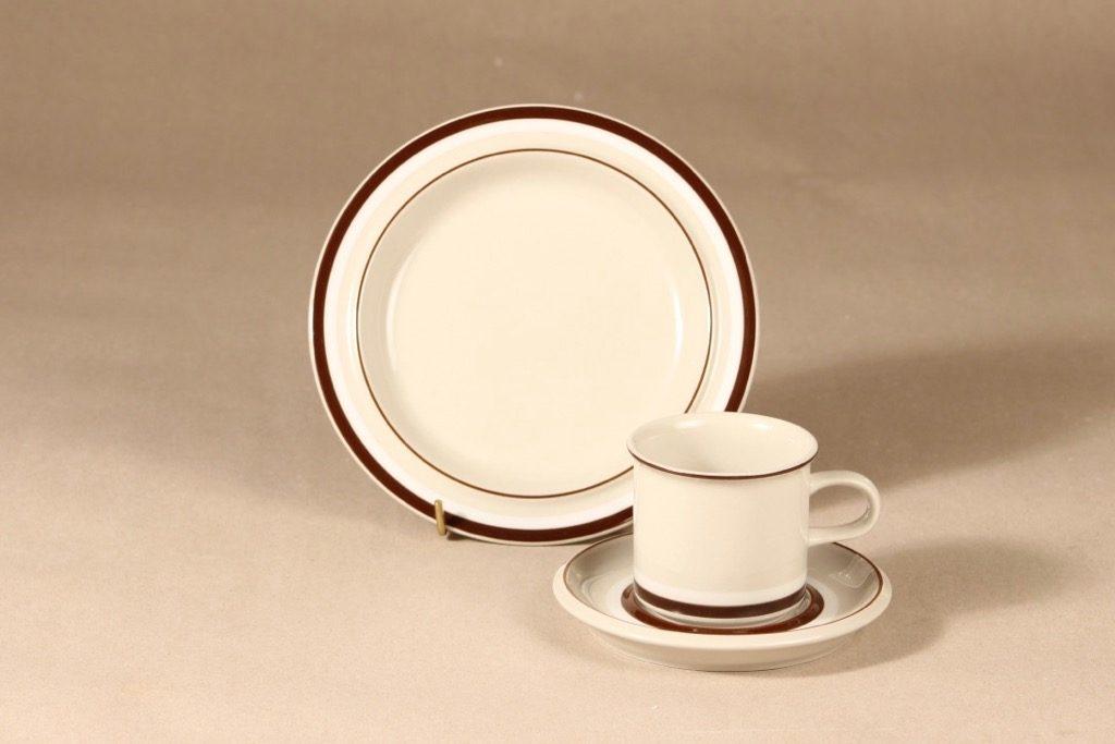 Arabia Hilkka kahvikuppi ja lautaset, suunnittelija , raitakoriste