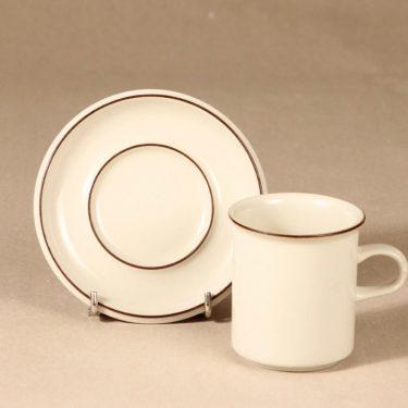 Arabia Fennica kahvikuppi, ruskea, suunnittelija Richard Lindh, raitakoriste kuva 2
