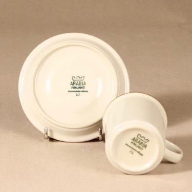 Arabia Fennica kahvikuppi, ruskea, suunnittelija Richard Lindh, raitakoriste kuva 3