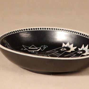 Arabia Tarina kulho, ruskea, suunnittelija Arabian Taideteollisuusosasto, raaputuskoriste kuva 2