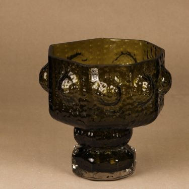 Riihimäen lasi Fontana maljakko, oliivinvihreä, suunnittelija Nanny Still, massiivinen, retro