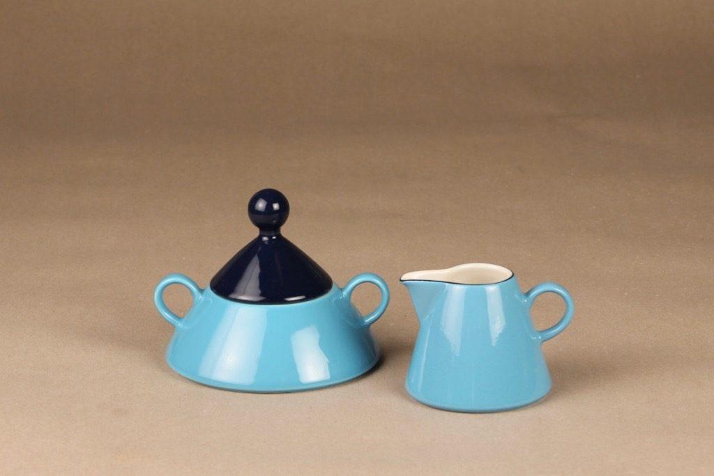 Arabia Harlekin turkos sugar bowl and creamer designer Inkeri Leivo