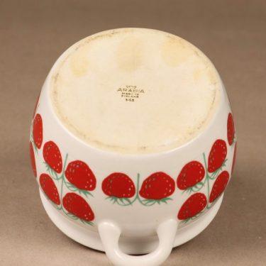 Arabia Pomona mansikka ruukku, 0,5 l, suunnittelija Raija Uosikkinen, 0,5 l, mansikka, retro kuva 2