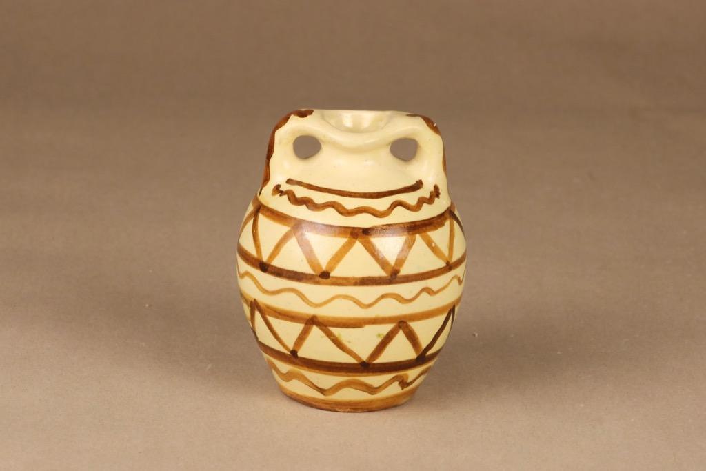 Kupittaan savi vase, hand-painted designed Gudrun Raunio