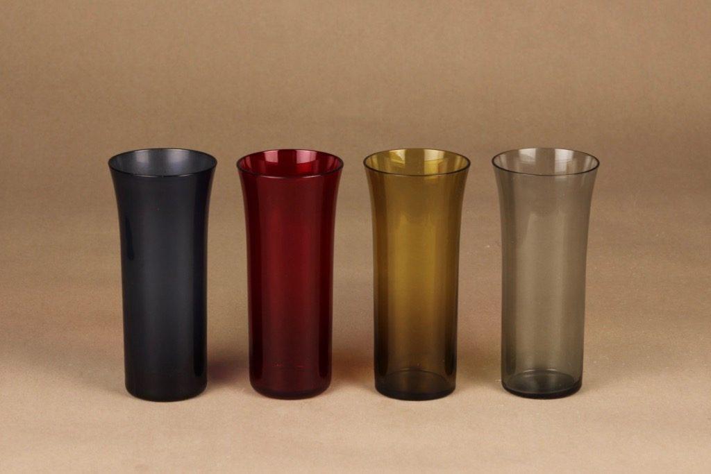 Nuutajärvi Trumpetti lasi, eri värejä, 4 kpl, suunnittelija Kaj Franck,